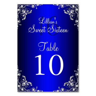 Table Number Card Royal Blue Sweet 16 Silver Pearl