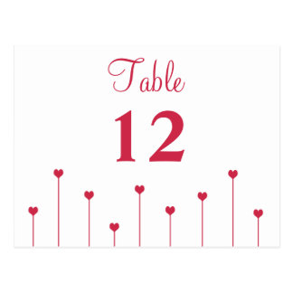 Table Number Card Simple, Modern Pink Love Hearts
