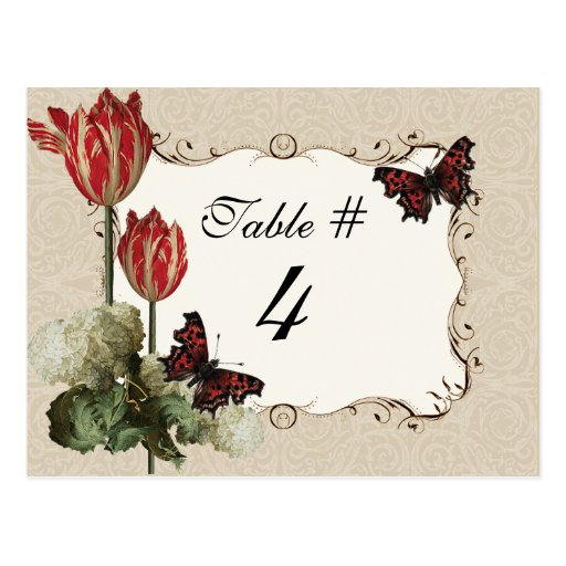 Table Number Card - Tan n Cream Red Tulip Damask Postcards
