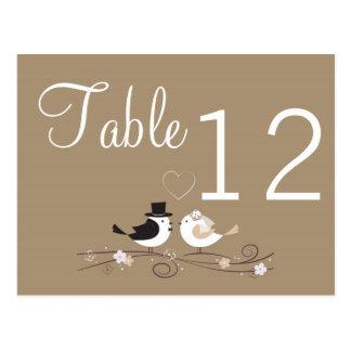 Table Number Card Wedding Birds Bride Groom Love Postcard
