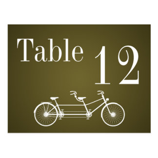 Table Number Card Whimsical Brown Fall Double Bike Postcard