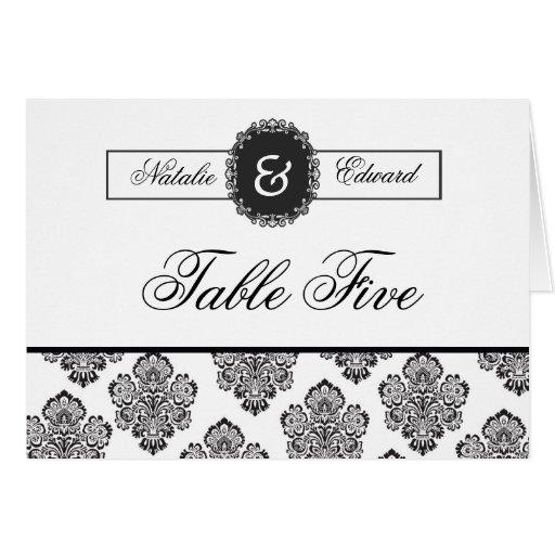 Table Number Cards Black & White Damask Monogram