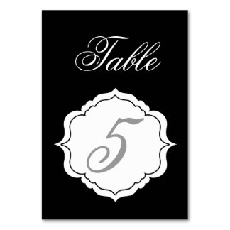 Table Number Cards in Black and White Reception