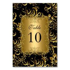 Table Number Cards Royal Black Gold