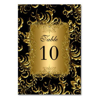 Table Number Cards Royal Black Gold