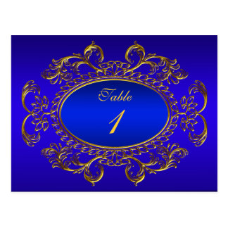 Table Number Cards Royal Blue Gold