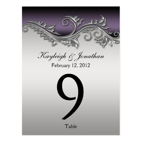 Table Number Cards Vintage Purple Black Silver