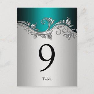 Table Number Cards Vintage Teal Black Silver Postcard