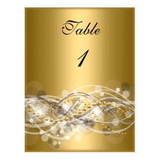 Table Number Cards White Gold Postcard