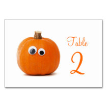 Table Number Cards With Funny Pumpkin