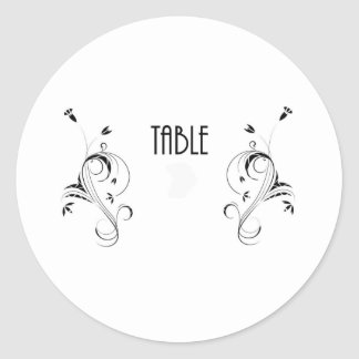 Table Number cCard Classic Round Sticker