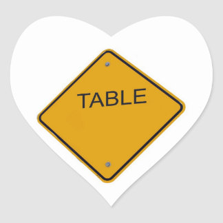 Table Number cCard Heart Sticker