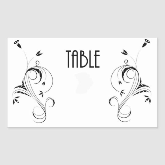 Table Number cCard Rectangular Sticker