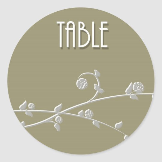 Table Number Classic Round Sticker