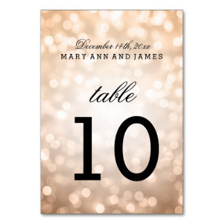 Table Number Copper Glitter Lights Card