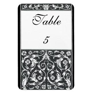 Table Number Damask Pen Ink Black White Wedding Rectangular Photo Magnet