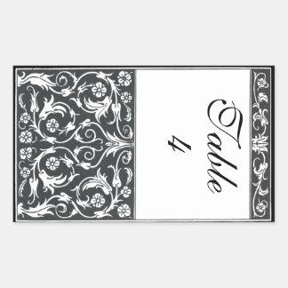 Table Number Damask Pen & Ink Black White Wedding Rectangular Sticker
