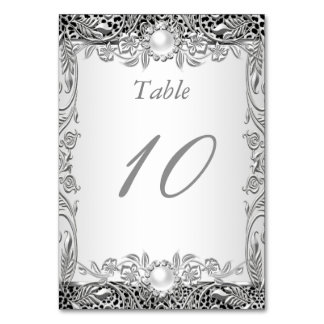 Table Number Elegant Leopard Silver Pearl Table Card