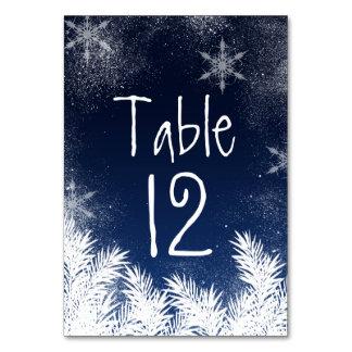Table Number Elegant Navy Blue Snowflake Wedding Card