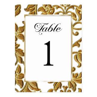 Table Number Embossed Gold Damask Postcard