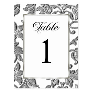 Table Number Embossed Silver Damask Post Cards