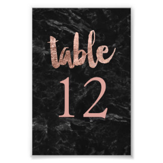 Table Number faux rose gold typography marble Photo Print