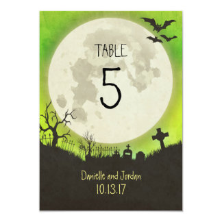 Table Number for a Halloween wedding in green