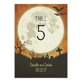 Table Number for a Halloween wedding in orange