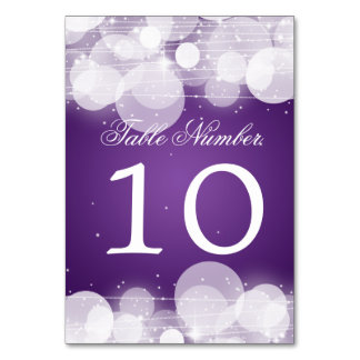 Table Number Glow & Sparkle Purple Table Cards