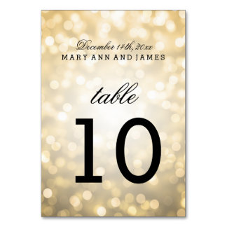 Table Number Gold Glitter Lights Card