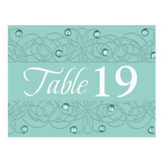 Table Number Lace and Pearl Aqua Mint Post Cards
