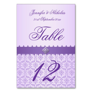 Table Number Lilac Damask & Purple Ribbon