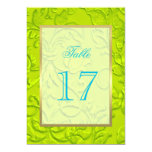 Table Number Lime Green Damask w Any Color Card