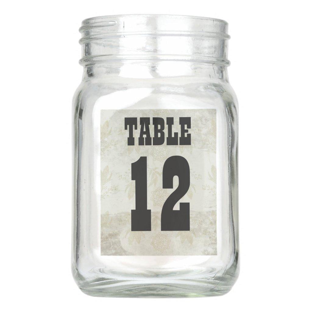 Table Number Mason Jar