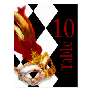 Table Number Masquerade Black White Red Postcard