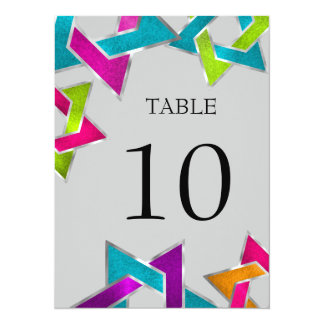 Table Number Multicolored Star of David Silver Card