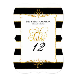Table Number Names Striped Script Gold Glitter Card
