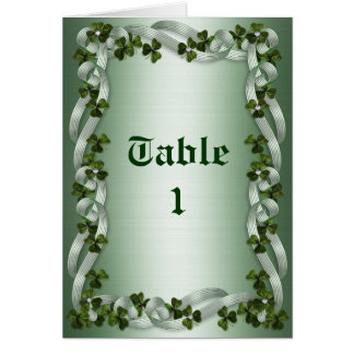 Table number note cards Irish Wedding