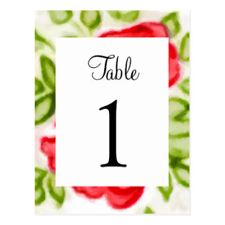 Table Number Painted Watercolor Red Roses Postcard