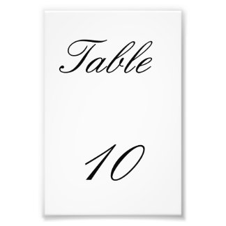 Table Number Photo Print