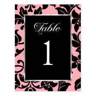 Table Number Pink and Black Damask Postcard