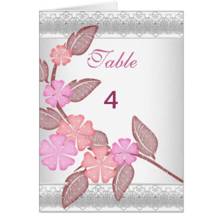 Table Number Place Cards Pink Floral note