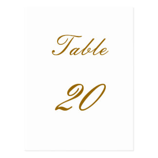 Table Number Post Cards