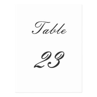 Table Number Postcard