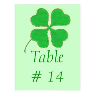 Table Number postcards, Green Shamrock Gold Dots Postcard