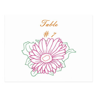 Table Number postcards, Pink Fuchsia Daisy