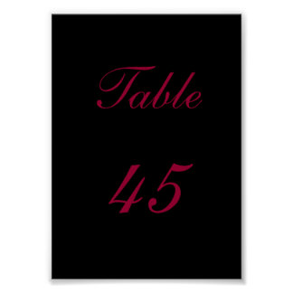 Table Number Posters