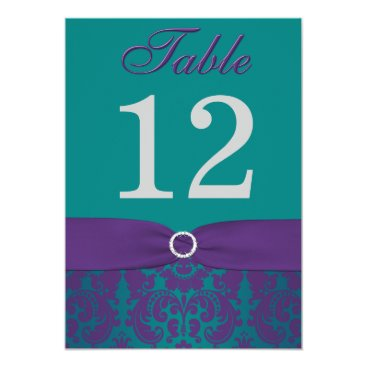 Table Number | Purple, Teal Damask 5x7 Paper Invitation Card