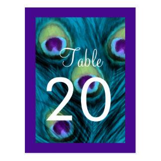 Table Number Purple Teal Peacock Postcard