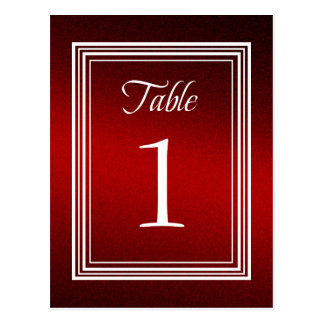 Table Number Red Shimmer Post Cards